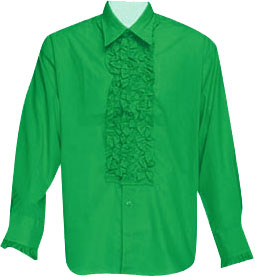 Green Ruffled Tuxedo Shirt Theater Costume