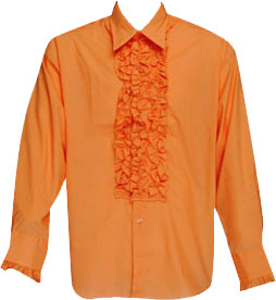 Orange Ruffled Tuxedo Shirt Theater Costume