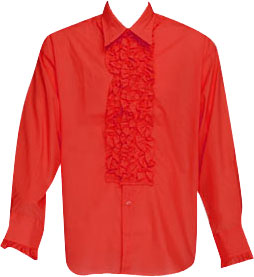 Red Ruffled Tuxedo Shirt Theater Costume
