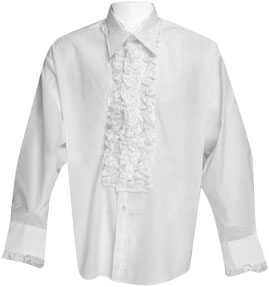 White Ruffled Tuxedo Shirt Theater Costume