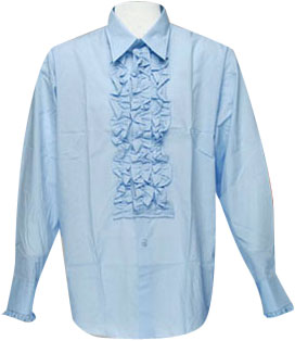 Blue Ruffled Tuxedo Shirt Theater Costume