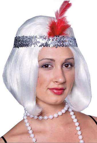 Silver 20's Flapper Wig