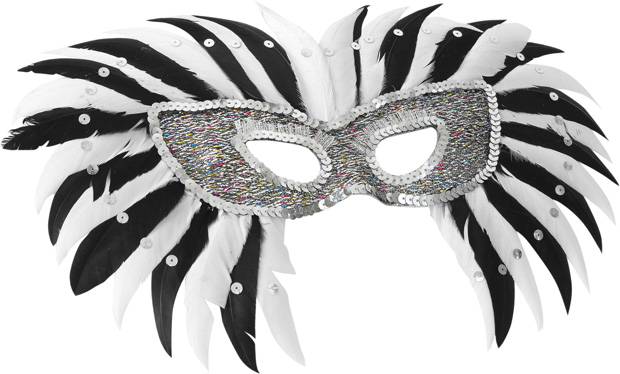 Deluxe Black & White Feather Eye Mask