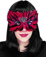 Red & Black Feather Eye Mask