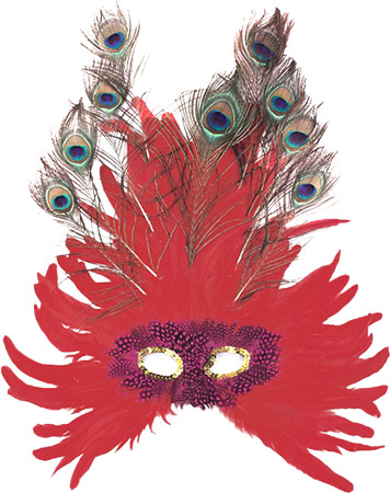 Red Feather Peacock Eye Mask