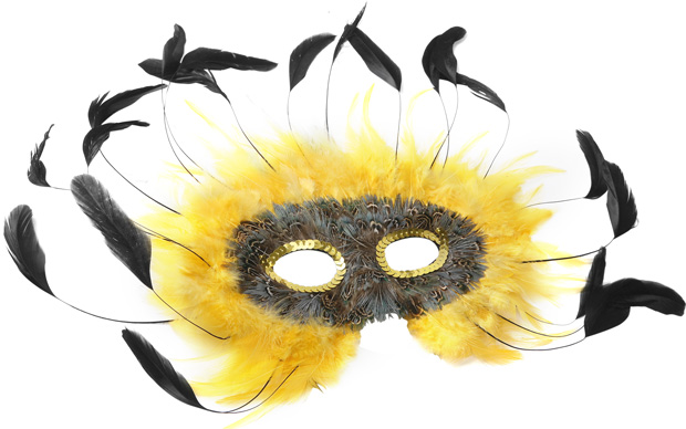 Yellow & Black Feather Eye Mask