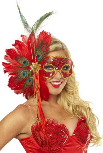 Women's Spanish Peacock Feather Eye Mask