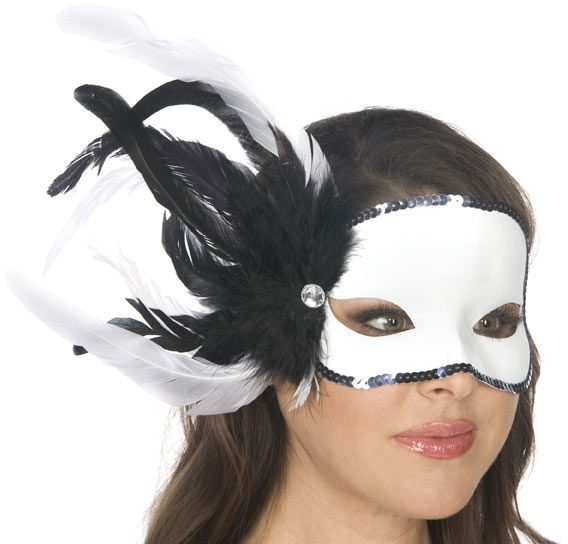 Black and White Feather Carnival Eyemask