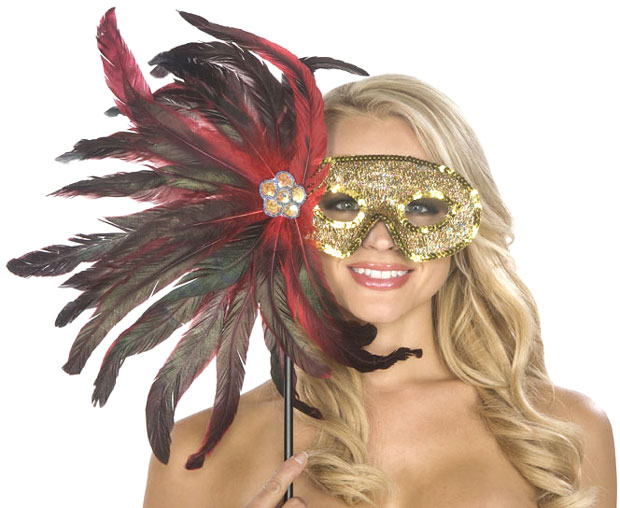 Black and Red Feather Carnival Eyemask