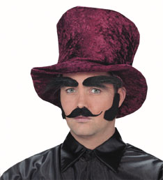 Costume Black Bushy Brow, Moustache & Sideburns Set