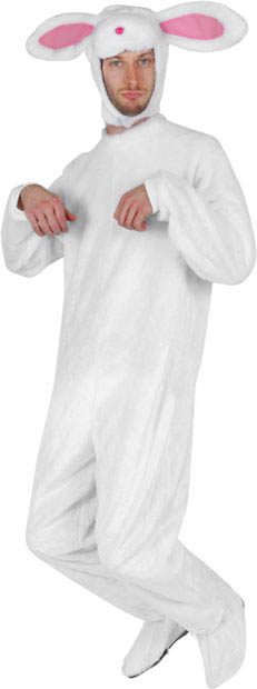 Adult White Plush Rabbit Costume