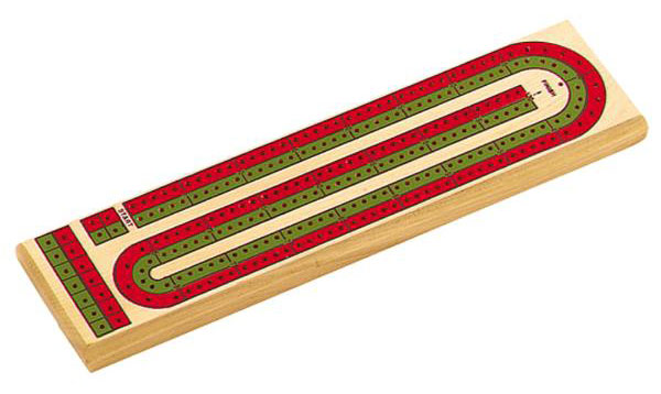 "13�"" Green and Red Cribbage Board"