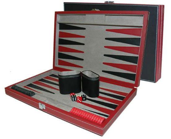 15 inch Black and Red Leatherette Backgammon