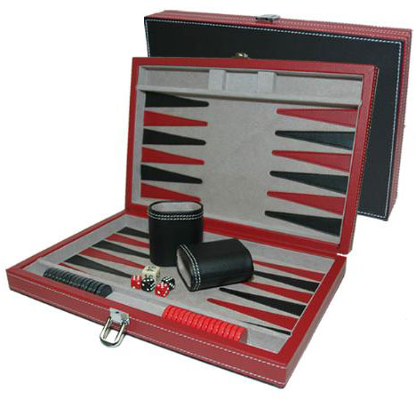 11 inch Black and Red Leatherette Backgammon