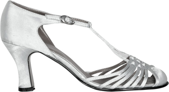 Women's Silver 20s Style Strap Shoes