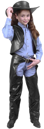 Child's Cowgirl Leather Chaps & Vest Costume