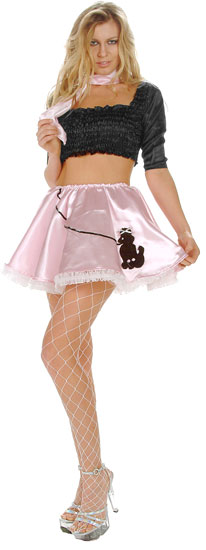 Sexy 50s Pink Poodle Skirt Costume
