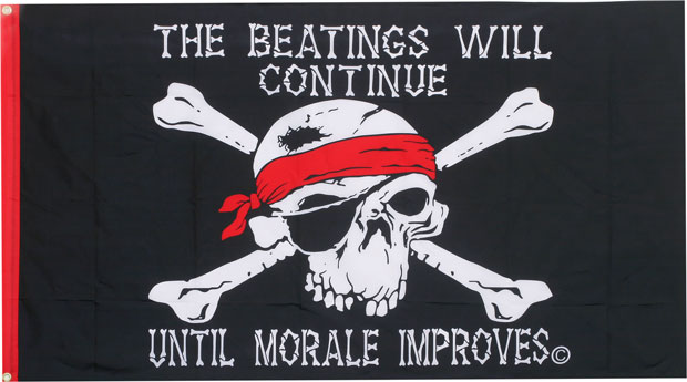 Beatings Continue Pirate Flag