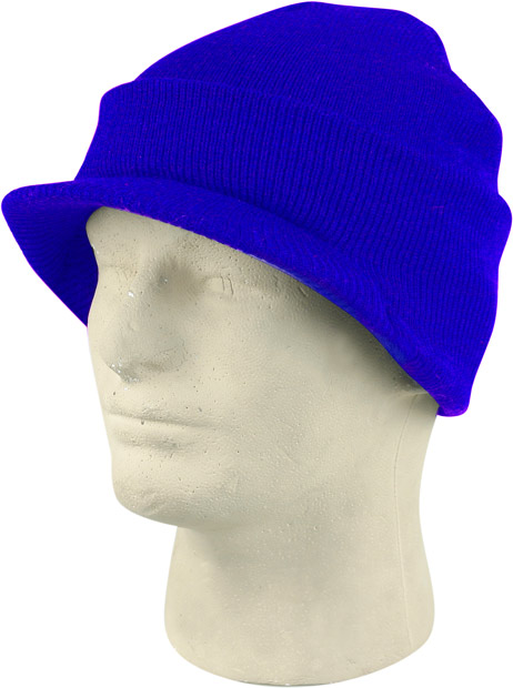 Royal Blue Cuffed Visor Beanie Hat