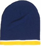 Navy Beanie W/ Gold & White Trim