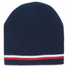 Navy Beanie W/ Red & White Stripes