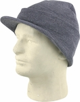 Charcoal Grey Cuffed Visor Beanie Hat