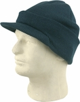 Dark Green Cuffed Visor Beanie Hat