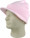 Light Pink Cuffed Visor Beanie Hat