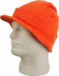 Orange Cuffed Visor Beanie Hat