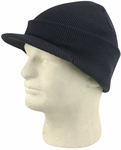 Black Cuffed Visor Beanie Hat