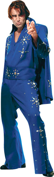 Blue Elvis Jumpsuit & Cape Theater Costume
