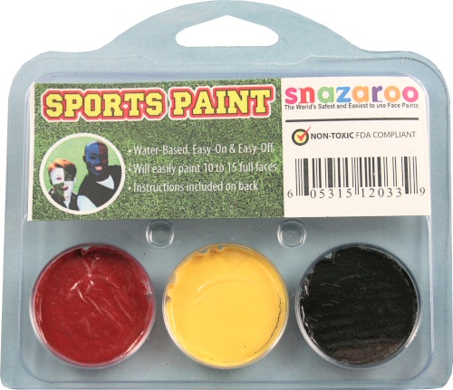 Red, Yellow, Black Face Paint Kit for Sports Fans