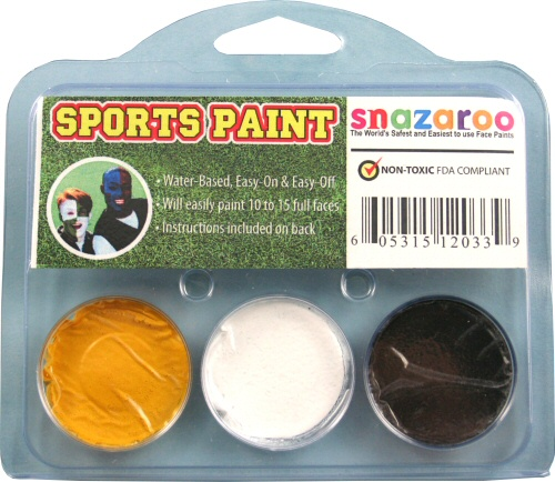 Yellow, White, Black Face Paint Kit for Sports Fans