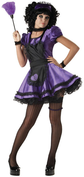 Teen Purple French Maid Costume