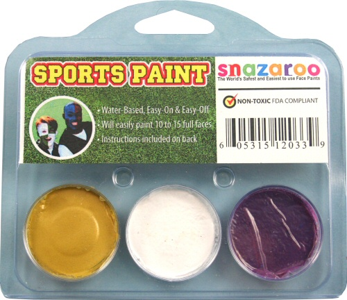 Gold, White, Purple Face Paint Kit for Sports Fans