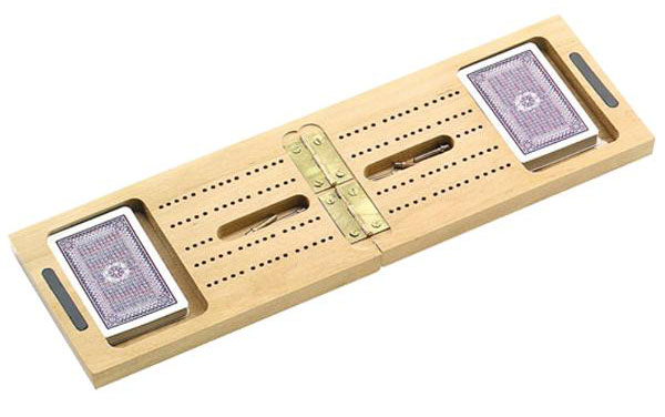 15 inch Wooden Travel Cribbage & Card Set