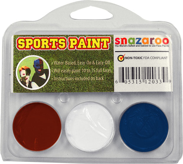 Red, White, Royal Blue Face Paint Kit for Sports Fans