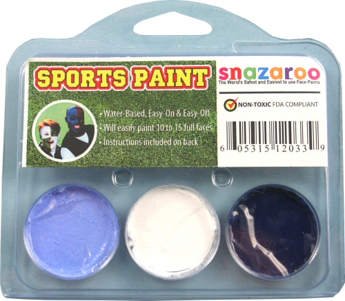 Pastel Blue, Dark Blue, White Face Paint Kit for Sports Fans