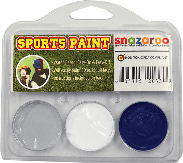 Grey, White, Royal Blue Face Paint Kit for Sports Fans
