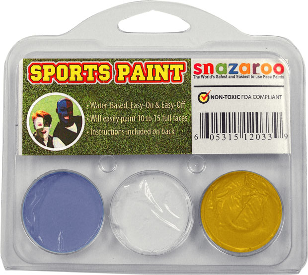 Pastel Blue, White, Gold Face Paint Kit for Sports Fans