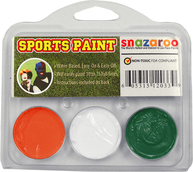 Orange, White, Green Face Paint Kit for Sports Fans