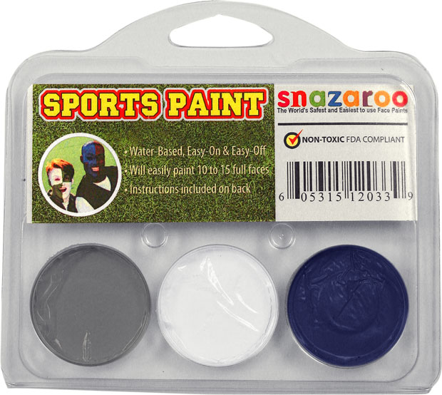 Dark Gray, White, Royal Blue Face Paint Kit for Sports Fans