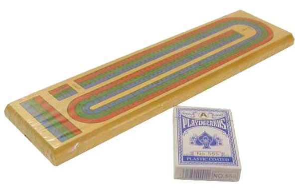 15 inch Color Track Cribbage Board with Cards