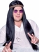 Men's Black Hippie Wig W/ Headband