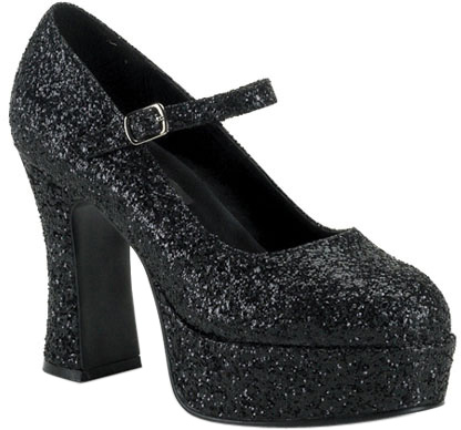 Black Glitter Mary Jane Shoes