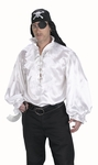 Adult Men's White Satin Ruffled Pirate Shirt