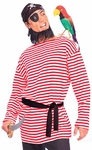 Adult Red And White Striped Pirate Shirt