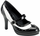 Women's Black And White Gangster Shoes