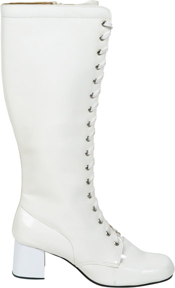 Women's White Lace-Up Zipper Go Go Boots