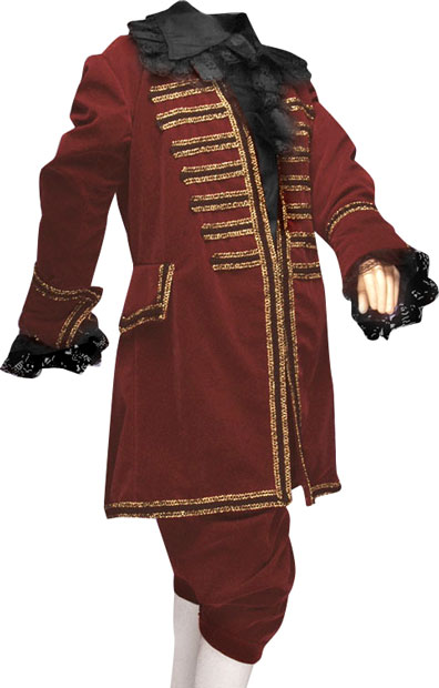 Burgundy Victorian Era Boys Halloween Costume